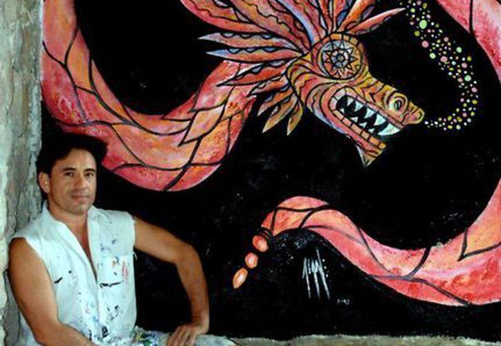 """Alan Vázquez fue invitado tras el éxito del mural """"La serpiente emplumada"""". (Faride Cetina/SIPSE)"""