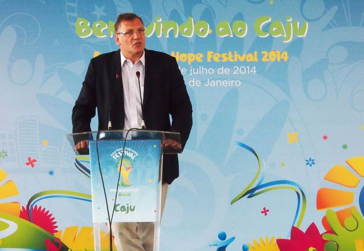 Jerome Valcke, secretario general de FIFA, durante un evento previo a la Copa Mundial de Brasil. (Foto de archivo de Notimex)