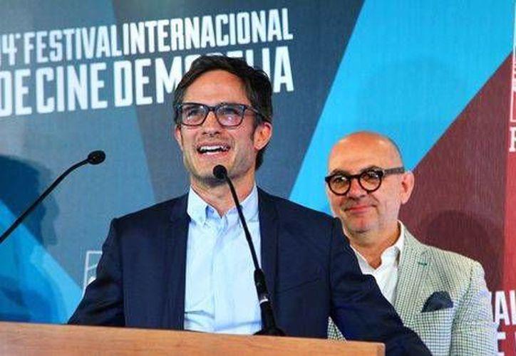 La película se proyectó ante un nutrido número de invitados especiales. En la foto, Gael García durante la presentación del filme en el Festival.(Édgar Negrete/Milenio Digital)