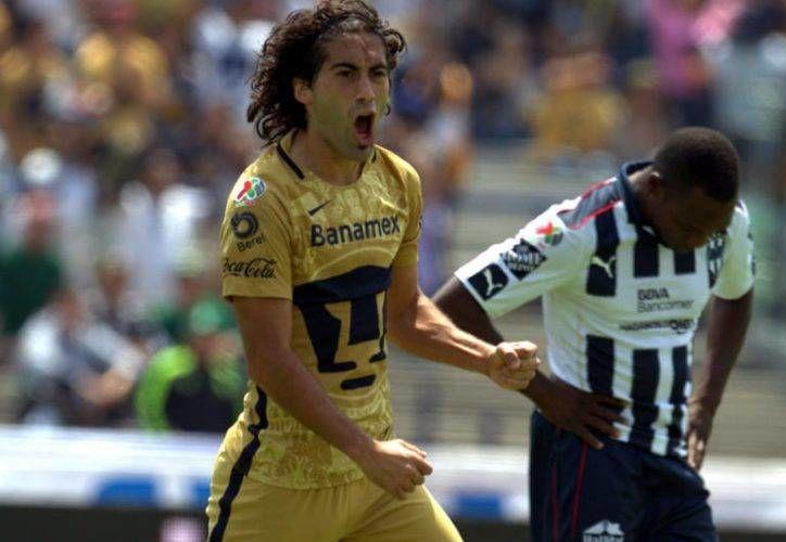 El uruguayo Matías Britos ha sido pieza fundamental en la delantera del conjunto universitario, luego de anotar siete goles durante la Temporada.(Foto tomada de Futbol Total)
