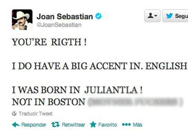Imagen del agresivo tuit del cantante mexicano. (Twitter)