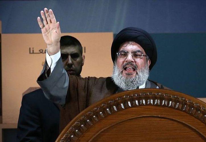 Hassan Nasrallah, líder del grupo chiíta, Hezbolá, afirmó durante un discurso en Beirut que piensa seguir la lucha al lado de los palestinos ya que Israel solamente 'busca la destrucción de nuestros pueblos y nuestras sociedades'. (Archivo AP)