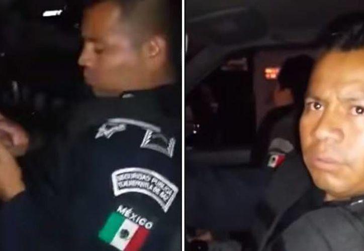 Un video captó el accidente en el que policías chocan contra un auto estacionado en una calle de la colonia La Presa, en Tlalnepantla. (Captura de pantalla de YouTube)
