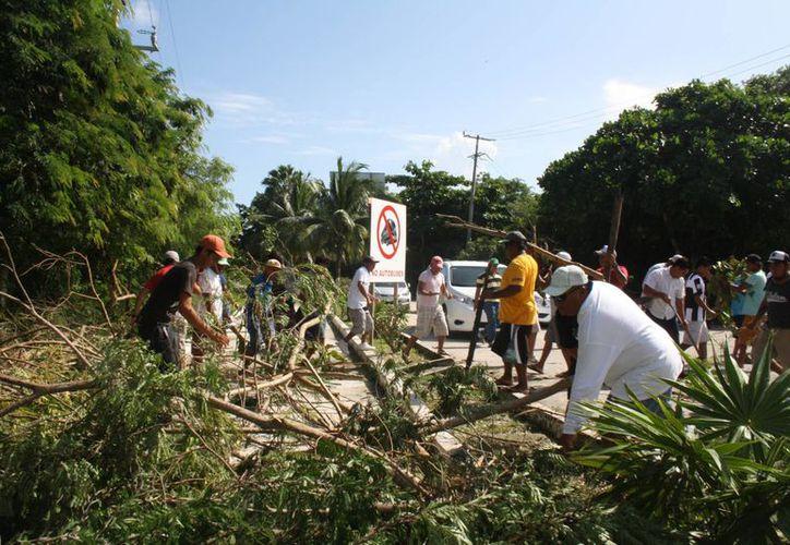 Los pobladores despejaron las vías de acceso. (Sara Cauich/SIPSE)