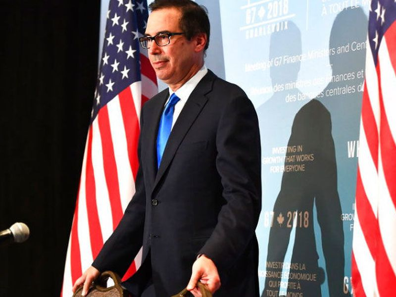 U.S. Treasury Secretary Steven Mnuchin arrives at a press conference during a meeting for the G7 Finance and Central Bank Governors in Whistler. (AP)