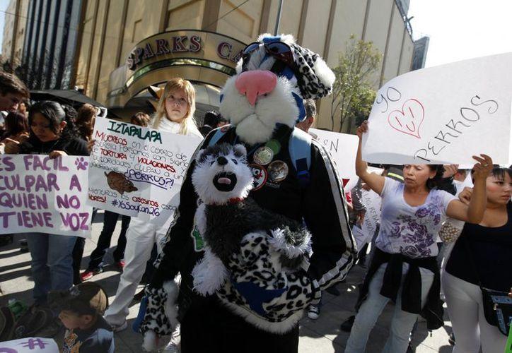 """Protestan por libertad de """"perros políticos""""; piden cesen redadas. (Notimex)"""