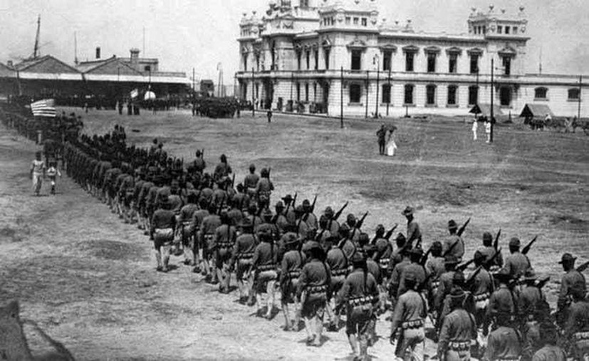 Aspecto de la ocupación de Veracruz por tropas de Estados Unidos. ( www.elmercuriodeveracruz.mx )