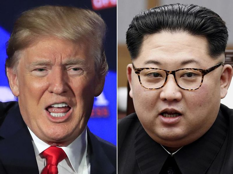 This combination of two file photos shows U.S. President Donald Trump, left, and the North Korea president, Kim Jong Un.