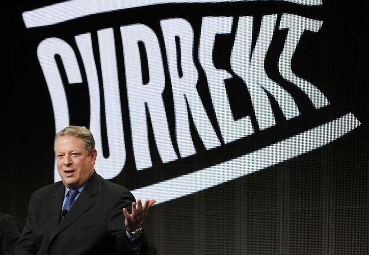 El ex vicepresidente Al Gore, presidente y cofundador de Current TV, durante un acto en Pasadena, California. (Agencias)