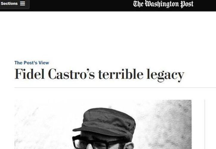 The Washington Post publicó un editorial en donde critica duramente  las fallas de la revolución cubana impulsada por Fidel Castro. (Captura de pantalla)
