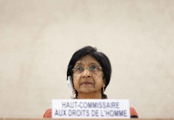 La Alta Comisionada de Derechos Humanos, Navi Pillay, durante la inauguración de la 26ª sesión del Consejo de Derechos Humanos en la sede europea de la ONU en Ginebra. (Archivo/EFE)