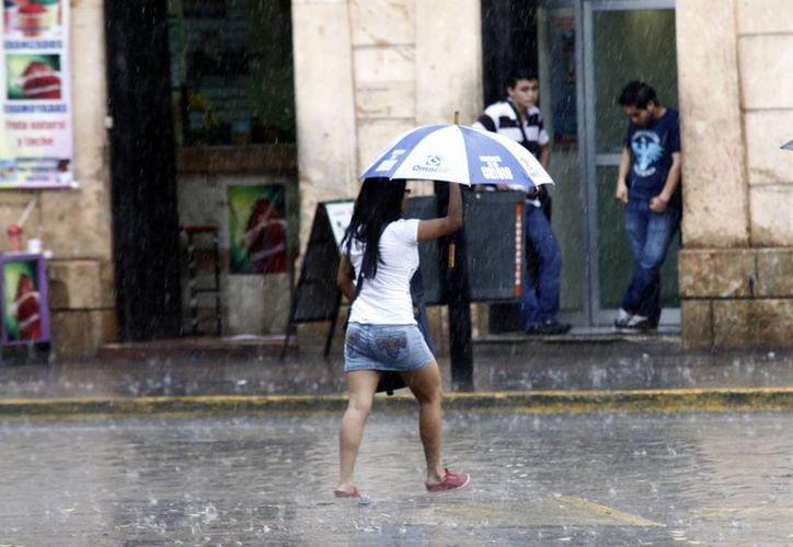 Algunas personas salieron de sus casas preparadas para la lluvia. (Christian Ayala/SIPSE)