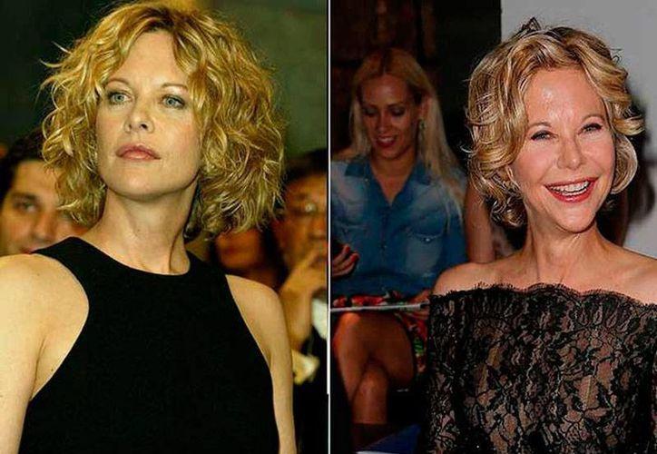 Las dos caras de la actriz Meg Ryan: a la izq., como la 'conocíamos'; a la derecha, como ya no la reconocemos. (excelsior.com.mx/Instagram)