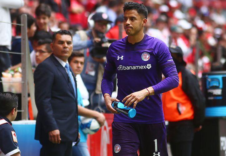 Alfredo Talavera del Toluca expulsado durante el juego de la jornada 3 del Torneo Apertura 2018. (Jammedia)