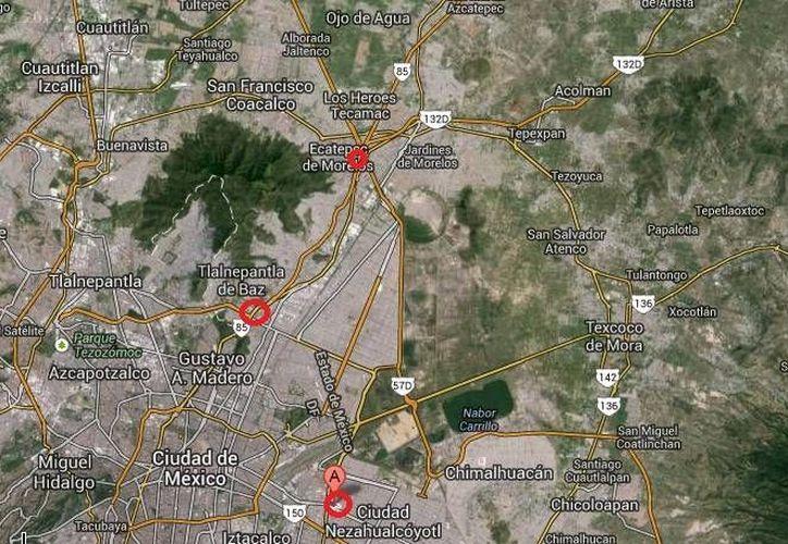 En los recuadros rojos se aprecian las zonas en donde ocurrieron tres de los cuatro crímenes en el Estado de México. (Google  Maps)