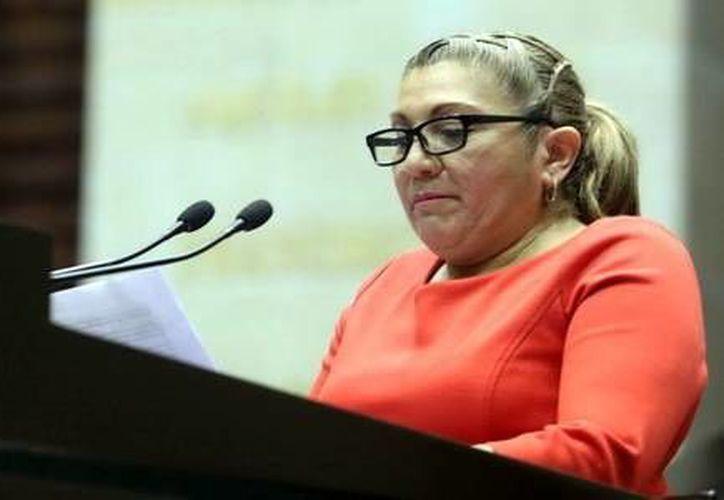 Diputada federal por el PRD Teresita Borges Pasos afirma que ese tipo de apoyos (despensas) los entrega cada mes. (Milenio Novedades)
