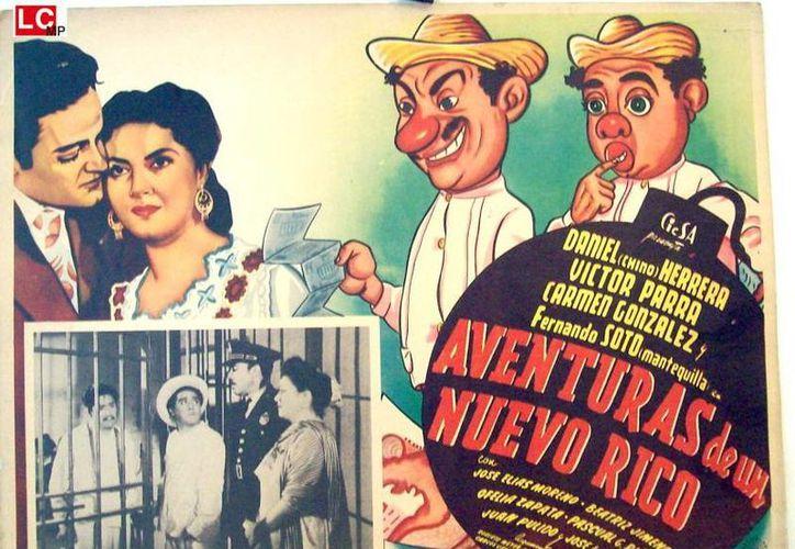 Tres películas protagonizadas por el actor yucateco Daniel Herrera serán proyectadas en la cineteca nacional como parte del festival del teatro. En la foto: La portada del filme 'Aventuras de un nuevo rico' que se proyectará el próximo viernes. (Milenio Novedades)
