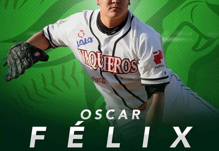 El pitcher sonorense Óscar Félix es la nueva contratación de Leones de Yucatán. La imagen oficial fue tomada de la página de Facebook de Leones.