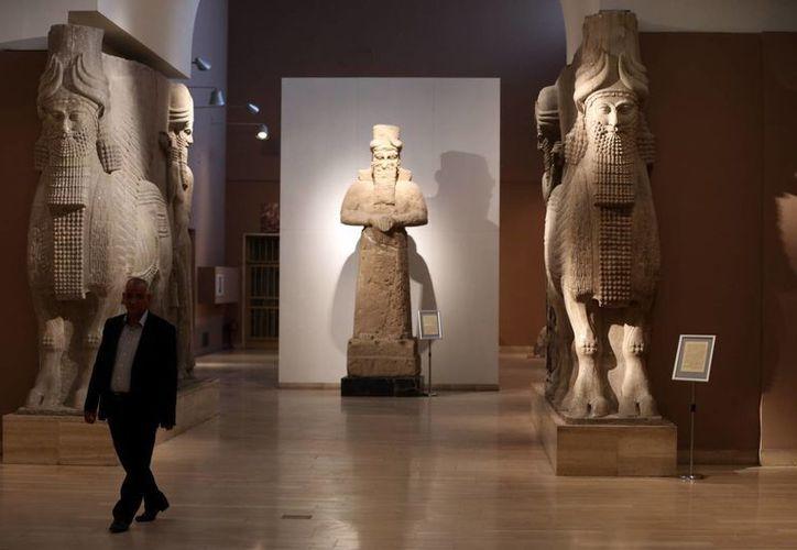 En esta imagen del 1 de marzo de 2015, un hombre camina en el Museo Nacional de Bagdad junto a estatuas de toros alados asirios. (Foto AP/Karim Kadim, Archivo)