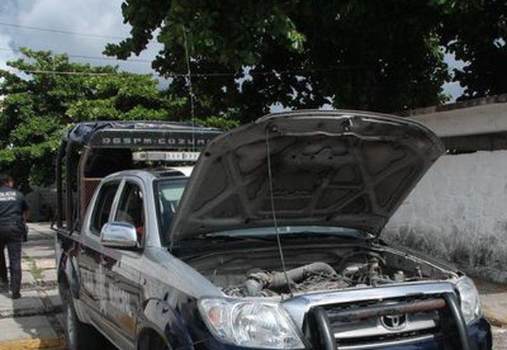 Las patrullas permanecieron estacionadas en las casetas policiales. (Julián Miranda/SIPSE)