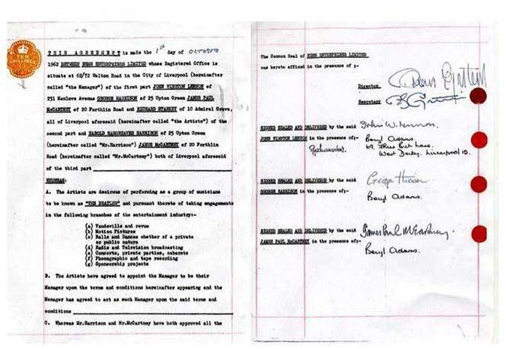 El contrato de The Beatles que en 1962 los catapultó a la fama saldrá a subasta. (excelsior.com.mx)