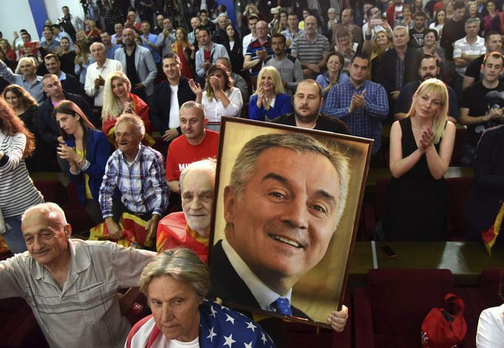 A supporter of Montenegro's former prime minister and long-ruling Democratic Party of Socialists leader Milo Djukanovic.