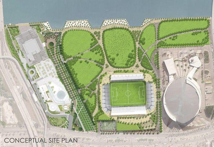 Aún no se determina el presupuesto de la obra, que no será financiada por entidades públicas, El nuevo estadio del equipo de la MLS ocupará un terreno contiguo al pabellón de los Miami Heat (der.) (EFE)