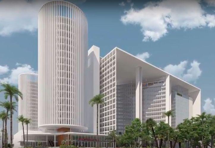 Imagen tomada de YouTube de Lúmina Bienes Raíces en la que puede verse lo el proyecto del World Trade Center Mérida. La imagen no es oficial.
