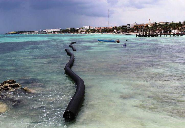 A las escolleras se les ha impregnado limo provocando resbalones entre resbalones entre los turistas. (Octavio Martínez/SIPSE)