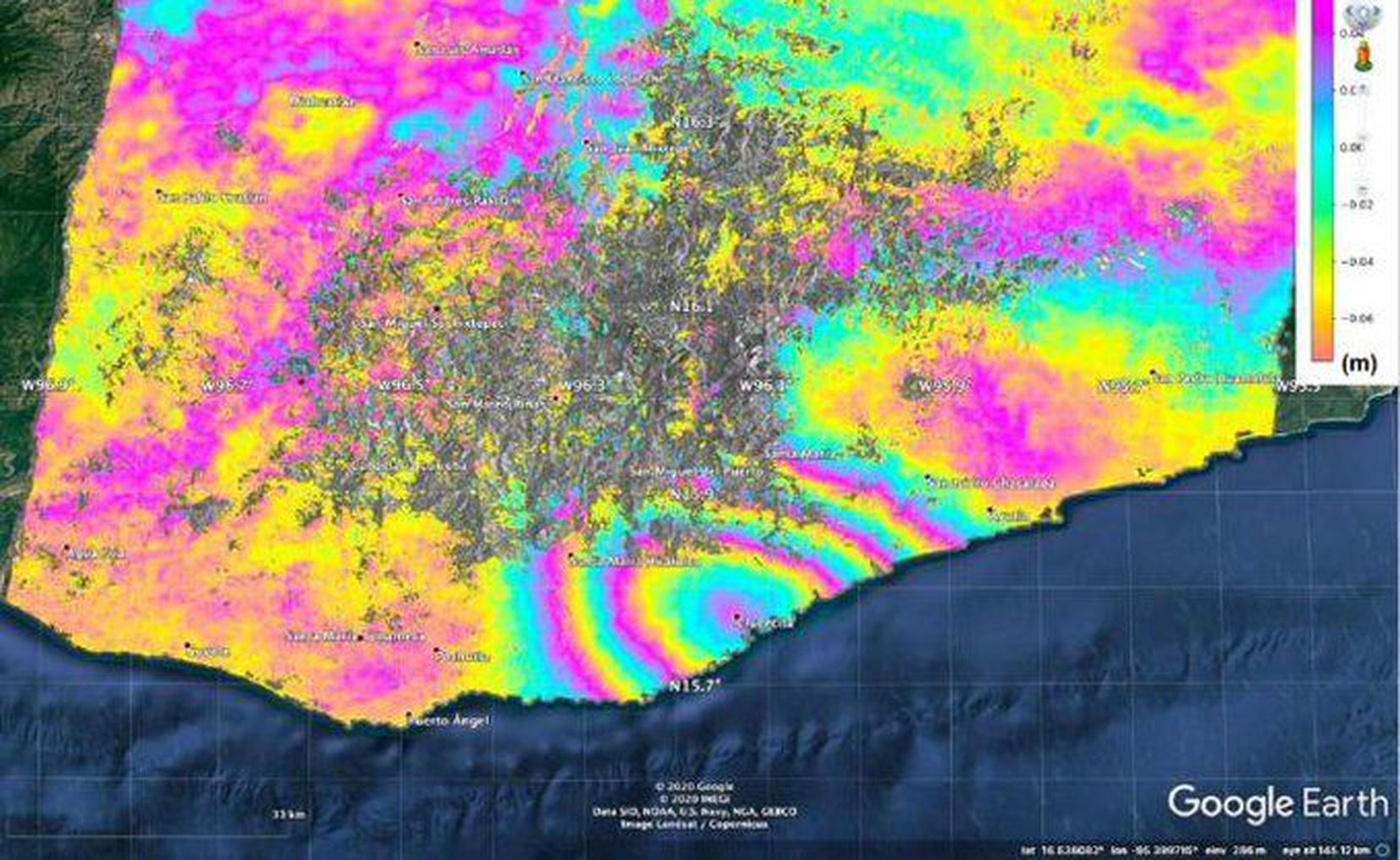 Sismo en Oaxaca desplazó casi medio metro la superficie terrestre