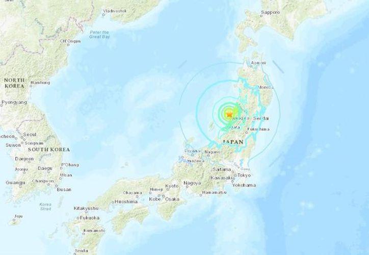 El epicentro fue situado en el mar, cerca de la costa noroccidental de Japón. (USGS)