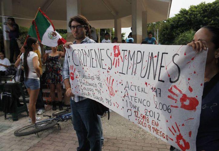 """Los integrantes de la marcha iniciaron el recorrido en el parque de la zona conocida como """"El Crucero"""". (Jesús Tijerina/SIPSE)"""