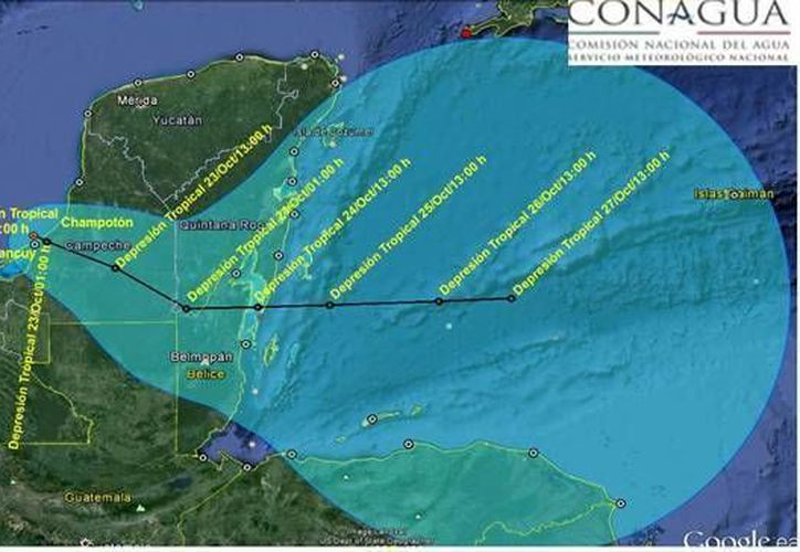 Pronóstico de la trayectoria que seguirá en la Península de Yucatán la depresión tropical 9. (Conagua)