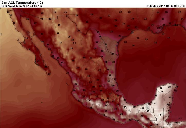México está que arde, y Yucatán no es la excepción: este lunes se esperan temperaturas superiores a los 40 grados en Mérida. La imagen de los pronósticos de temperatura a las 12:00 horas está tomado de la página pivotalweahter.com.