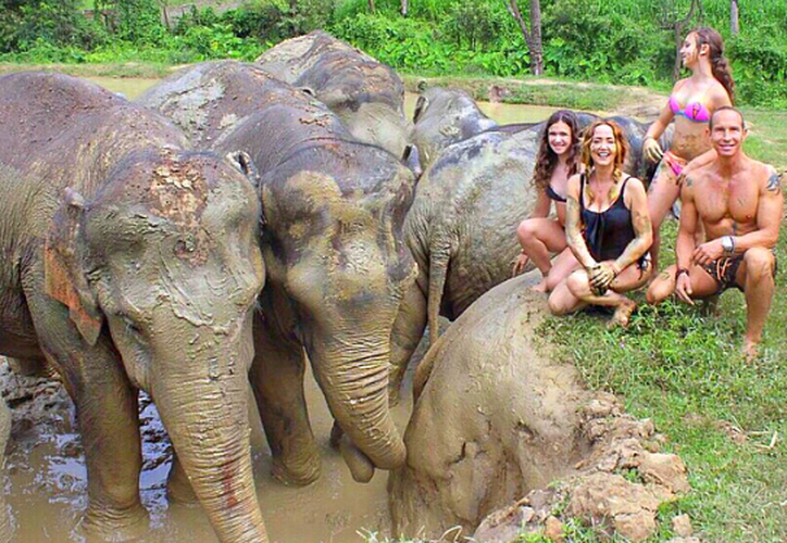 Andrea compartió con sus seguidores que al fin realizó su sueño de visitar el santuario de los elefantes. (Instagram)