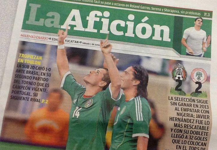 Portada de La Afición del periódico Milenio Novedades. (Foto: SIPSE)