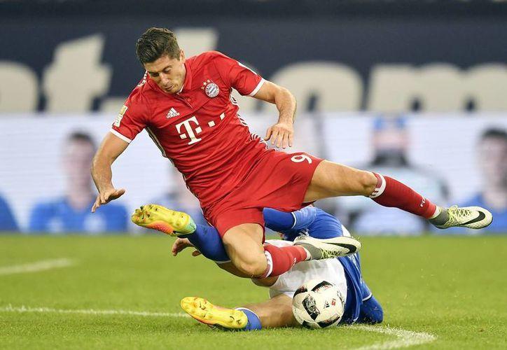 Robert Lewandowski hizo uno de los dos goles con que Bayern ganó 2-0 a Schalke para seguir como líder en la Liga de Alemania. (AP)