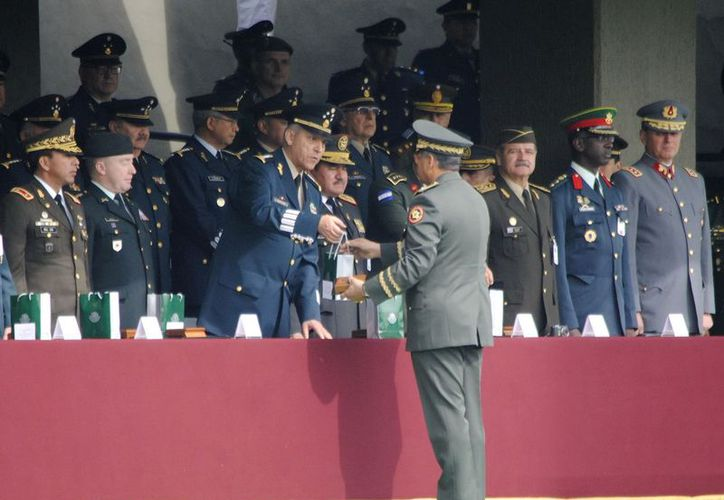 El titular de la Sedena,  Salvador Cienfuegos, al clausurar en días pasados la Conferencia de Comandantes de Ejércitos Americanos. (Notimex)