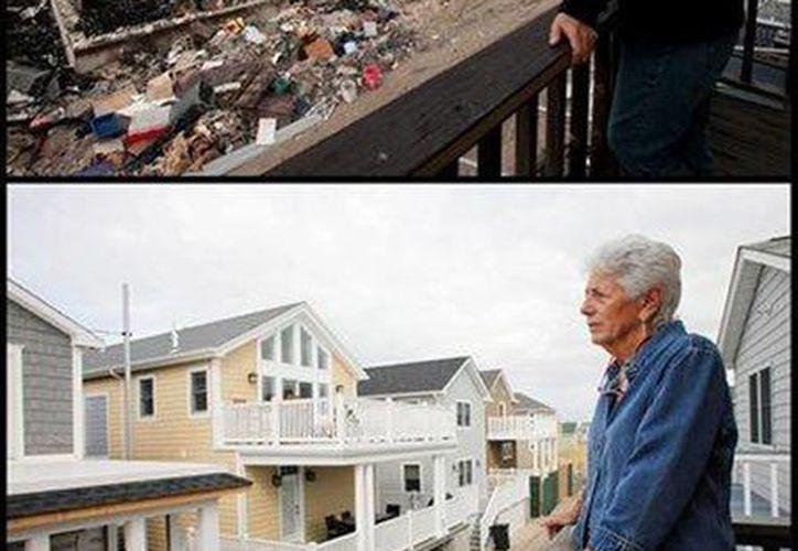 En esta combinación de fotos se muestra a una mujer observando desde el balcón del segundo piso de su casa los efectos de la supertormenta Sandy en el barrio Breezy Point de Queens, y las casas nuevas que reemplazaron a las destruidas por incendios dos años después. (AP/Mark Lennihan)