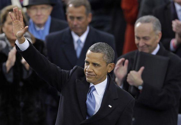 El presidente de EU, Barack Obama, durante la ceremonia de toma de protesta en el Capitolio. (Agencias)