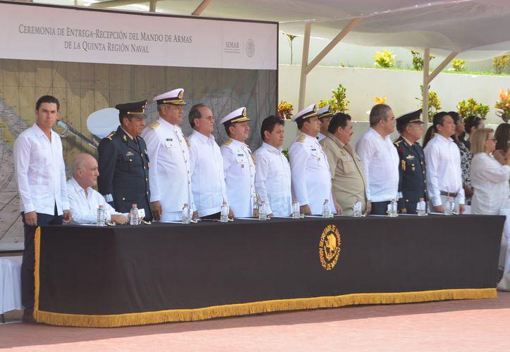 Ceremonia de la entrega-recepción del Mando de Armas de la Quinta Región Naval. (Cortesía)