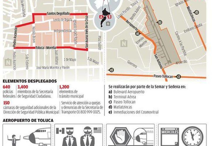 Operativos de seguridad en el marco de la Cumbre de Líderes de América del Norte que comenzará este miércoles en Toluca. (Milenio)