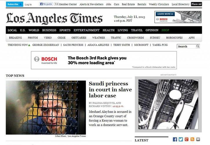 Tribune Co es propietaria de ocho diarios, entre ellos el Chicago Tribune, Los Angeles Times y The Baltimore Sun. (Captura de pantalla)