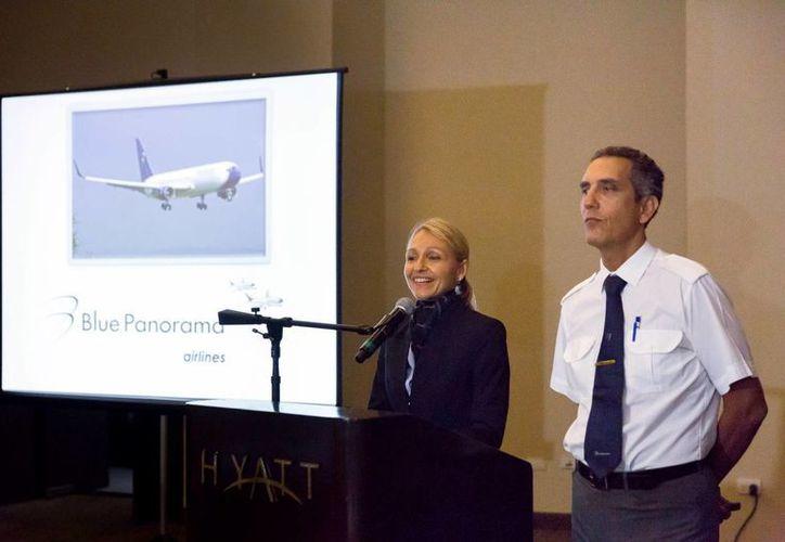 Rosanna Sangalli, directora de ventas para México de la aerolínea Blue Panorama, detalló que el vuelo Mérida-Milán durará entre 10 y 12 horas. (Milenio Novedades)