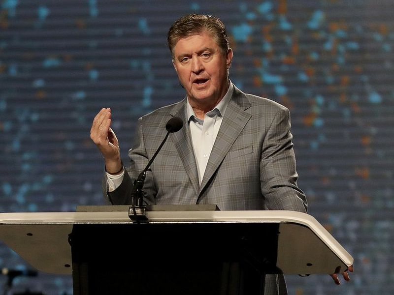 The Southern Baptist Convention President Steve Gaines gives the president's address during the SBC annual meeting in Phoenix. (AP)