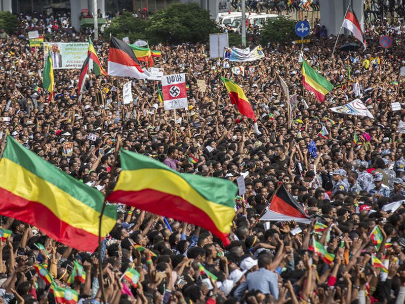 Ethiopians rally in solidarity with Prime Minister Abiy Ahmed in Meskel Square in the capital, Addis Ababa.