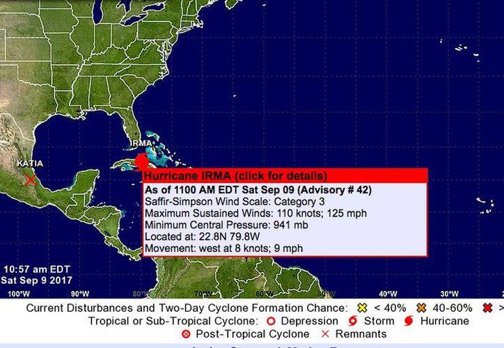 Irma tiene  vientos máximos sostenidos de 205 kilómetros por hora. (Noaa)