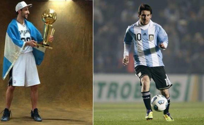 Emanuel 'Manu' Ginóbili (i), considerado el mejor basquetbolista argentino de todos los tiempos, considera a Lionel Messi (d) la joya del deporte de su país. (Composición de fotos tomada de .depor.pe)