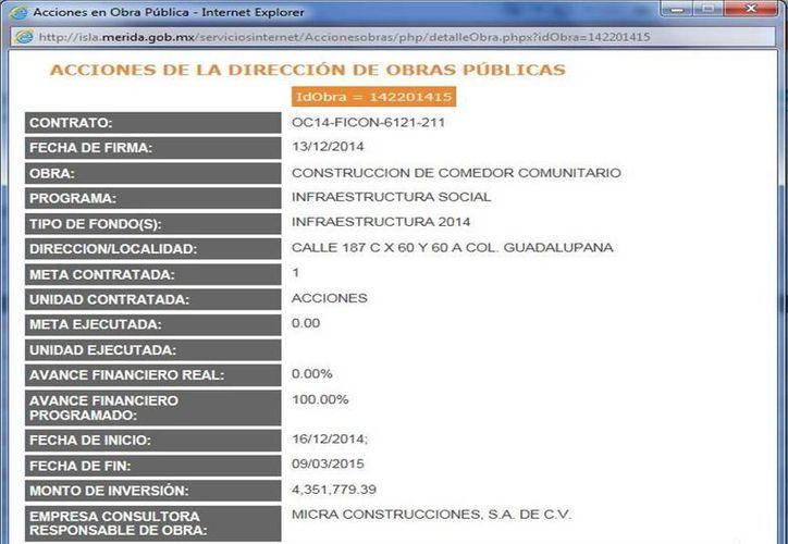 Documento donde se detallan las obras en el comedor comunitario de la colonia La Guadalupana, en el sur de Mérida. (SIPSE)