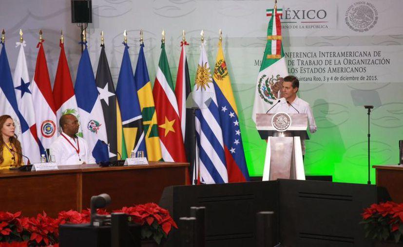 En rique Peña Nieto ofreció un discurso durante la conferencia. (Luis Soto/SIPSE)